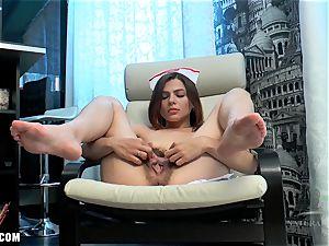 Erika paws her furry honeypot to jizm