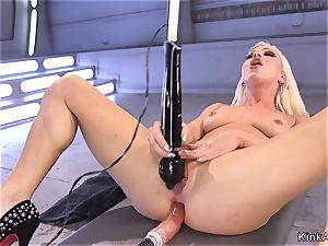 unreal blonde cutie ass-fuck fucks machine